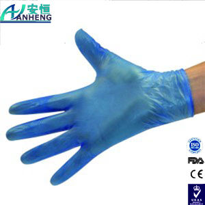 PVC Blue Vinyl Gloves Powdered, Disposable Medical PVC Gloves pictures & photos