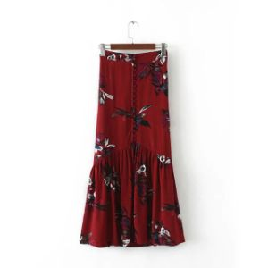 Front Slip Floral Printing Pencil Skirt with Single Breasted pictures & photos