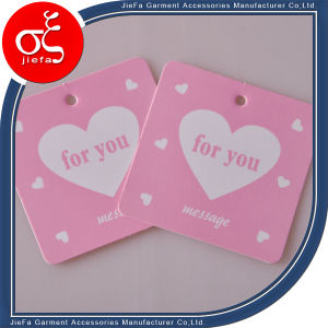 Cheap Price Cute Pink Paper Swing Tag for Woman Clothing pictures & photos