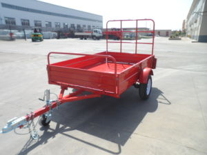 Hot Sales Quality Red Single Axle Box Trailers with Cage pictures & photos