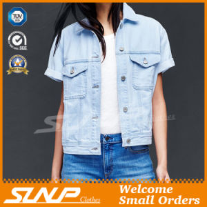 China Factory Women Wear Denim Coat with Short Sleeve