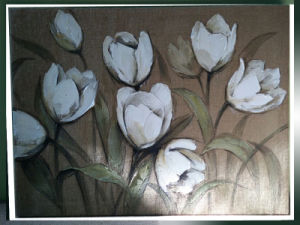 Handmade Modern Group Abstract White Tulips Oil Painting on Canvas (LH-034000) pictures & photos