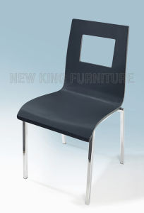 Modern Wooden Back Chrome Steel Foot Dining Chair (NK-DC099)