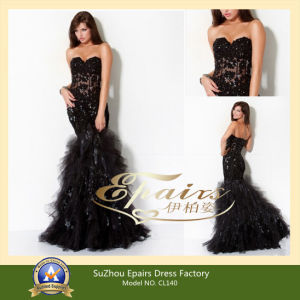 Black Lace Dress on Sexy Black Lace Beaded Applique Sweetheart Mermaid Evening Dresses