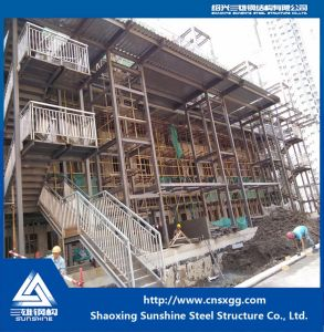 Welded Steel Structure Straight Stairway with H Beam for Prefab House pictures & photos