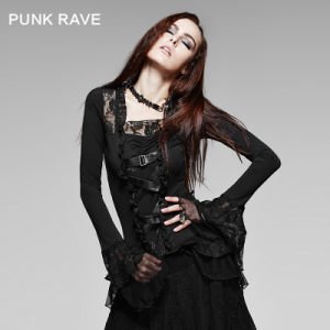 Western Gothic Flare Long Sleeve Casual T-Shirt (T-189) pictures & photos