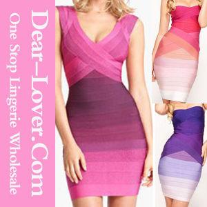 Newest Fashion Rainbow Bandage Dress pictures & photos