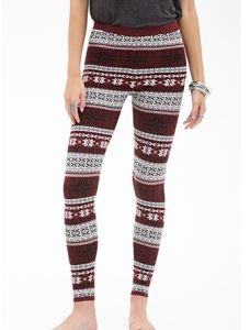 Fair Isle Patterned Leggings with Elasticized Waist pictures & photos
