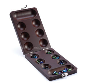 Foldable Wooden Mancala Game with Glass Beads