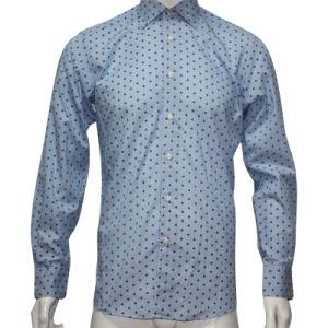 Men′s Dobby Print Stripe Shirt HD0020