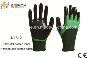 Polyester+Spandex Shell Nitrile Coated Safety Work Gloves (N1512) pictures & photos