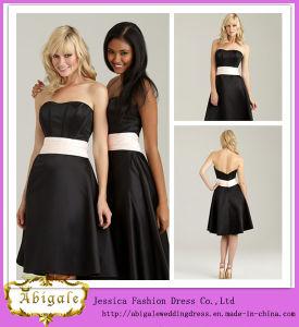 2014 New Designer Sheath Black Sweetherat Backless Sash Satin Knee Length Bridesmaid Dress Evening Dress (MN1185)