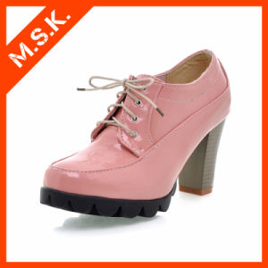 Fashion Lace-up High Heels Women Ankle Shoes (Pink MSK-H1136)