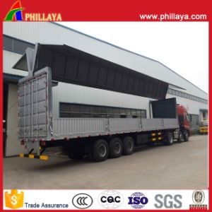 Aluminum Alloy Hydraulic Stretch Box Side Open Wing Van Trailer pictures & photos