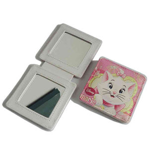 Lady Customized Square PU Genuine Leather Compact Makeup Mirror (B2002) pictures & photos