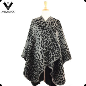 Women Oversized Woven Jacquard Leopard Poncho Shawl pictures & photos