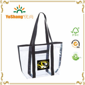 Promotional Cheap Customed Clear PVC Tote Bag with Webbing Handles pictures & photos
