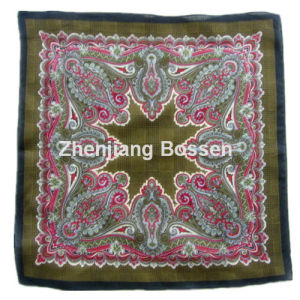 Custom Made Logo Paisley Printed Promotional Cheap Cotton Scarf pictures & photos