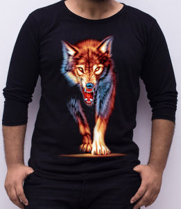 Customized Fashion High Quality 3D Wolf Printing Long Sleeves Round Neck Men′s T Shirt pictures & photos