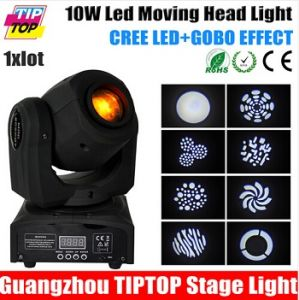 10W Mini LED Moving Head Light 1*10W White Color CREE LED Color/Gobo Wheel