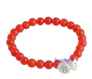 Natural Carlian Beads Bracelet with Silver Charm (BRG0020) pictures & photos