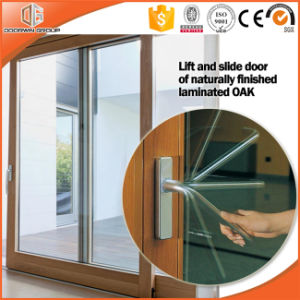 Irregular Grille Beautiful View Effects Glass Patio Door, Customized Size Aluminum Clading Solid Wood Lift Sliding Door pictures & photos