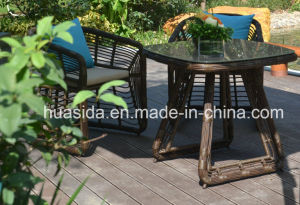 Patio Dining Round PE Rattan Dining Table Set pictures & photos