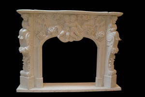 Child Angel Carving Fireplace (FRP357) pictures & photos