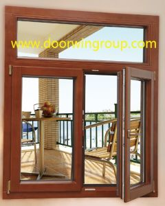 Powder Coated Aluminum Solid Wood Window, Teak Wood Aluminium Window for Villas and High-End Buildings pictures & photos