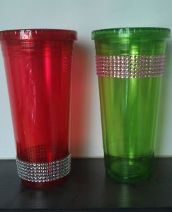 700ml Plastic/Acrylic Straw Tumbler with Diamond (HT-005D)