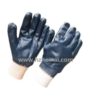 Fully Dipped Blue Nitrile Gloves Protective Safety Work Glove pictures & photos