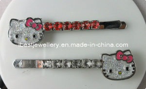 Fashion Hair Accessories -Hello Kitty Crystal Hair Bobby Clip Set for Children
