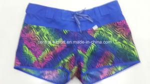 Oeko-Tex Flat Waist Polyester Patterned Lady Board Short Swimwear pictures & photos