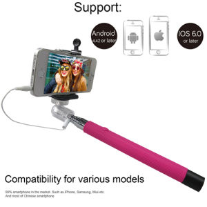 Stainless Steel Colorful Wired Selfie Stick for Smartphone pictures & photos