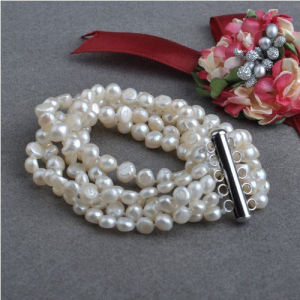 5strands Nugget Baroque Natural Freshwater Pearl Bracelet (E150039) pictures & photos