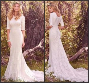1/2 Sleeves Lace Bridal Gown Sheath Mermaid Wedding Dress W175 pictures & photos