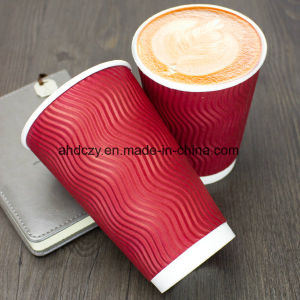 Professional Eco-Friendly Ripple Wall Kraft Paper Coffee Cups pictures & photos