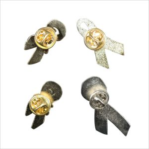 Custom Ribbon Enamel Lapel Pins with Butterfly Buckle pictures & photos