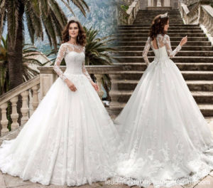 Long Sleeves Bridal Gowns Puffy Tulle Lace Wedding Dresses Y2032 pictures & photos