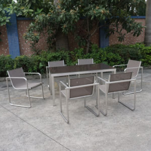 Outdoor Dining Furniture Metal Stainless Steel Aluminumm Chair and Table Set for Restaurant pictures & photos