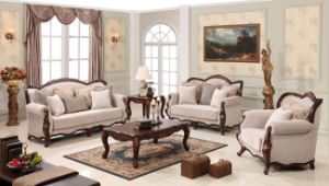 Antique Classical Fabric Sofa with Table Set for Living Room pictures & photos