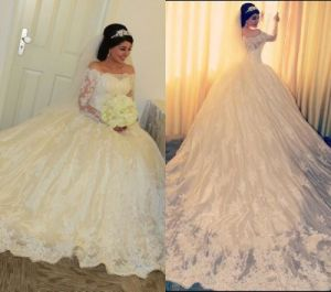 Lace Bridal Ball Gowns Long Sleevs Arabic Wedding Dress L58 pictures & photos