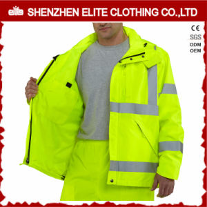 Fluorescent Black Yellow Reflective Tape Work Jackets for Engineer (ELTHJC-515) pictures & photos