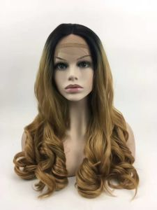 Cheap Black to Blonde Long Wavy Wigs for Black Women Ombre Body Wave Heat Resistant Synthetic Hair Wig for Daywear or Cosplay pictures & photos