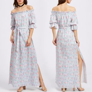 Fashion Women Leisure Casual Printed Flower Bandage off Shoulder Dress pictures & photos