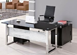Glass Table Top Triangle Metal Leg Boss Desk /Table (HX-GL010) pictures & photos