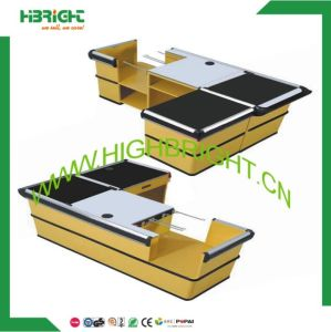 Hot Sale Supermarket Checkout Counter with Conveyor Belt, Supermarket/Retail Store Counter pictures & photos