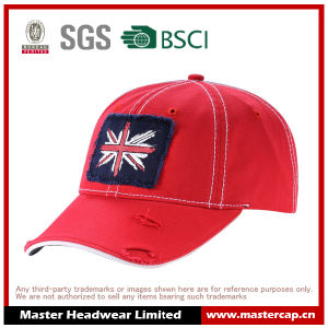 Red Cotton Applique Embroidery Destory Wash Baseball Cap Without Buckram pictures & photos