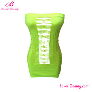 Alluring Green Hollow-out Flirty Tube Chemise