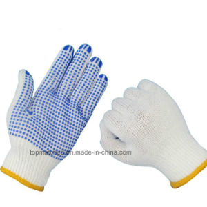 10 Gauge Bleached White Cotton Knitted Working Gloves with PVC Dots on Palm pictures & photos